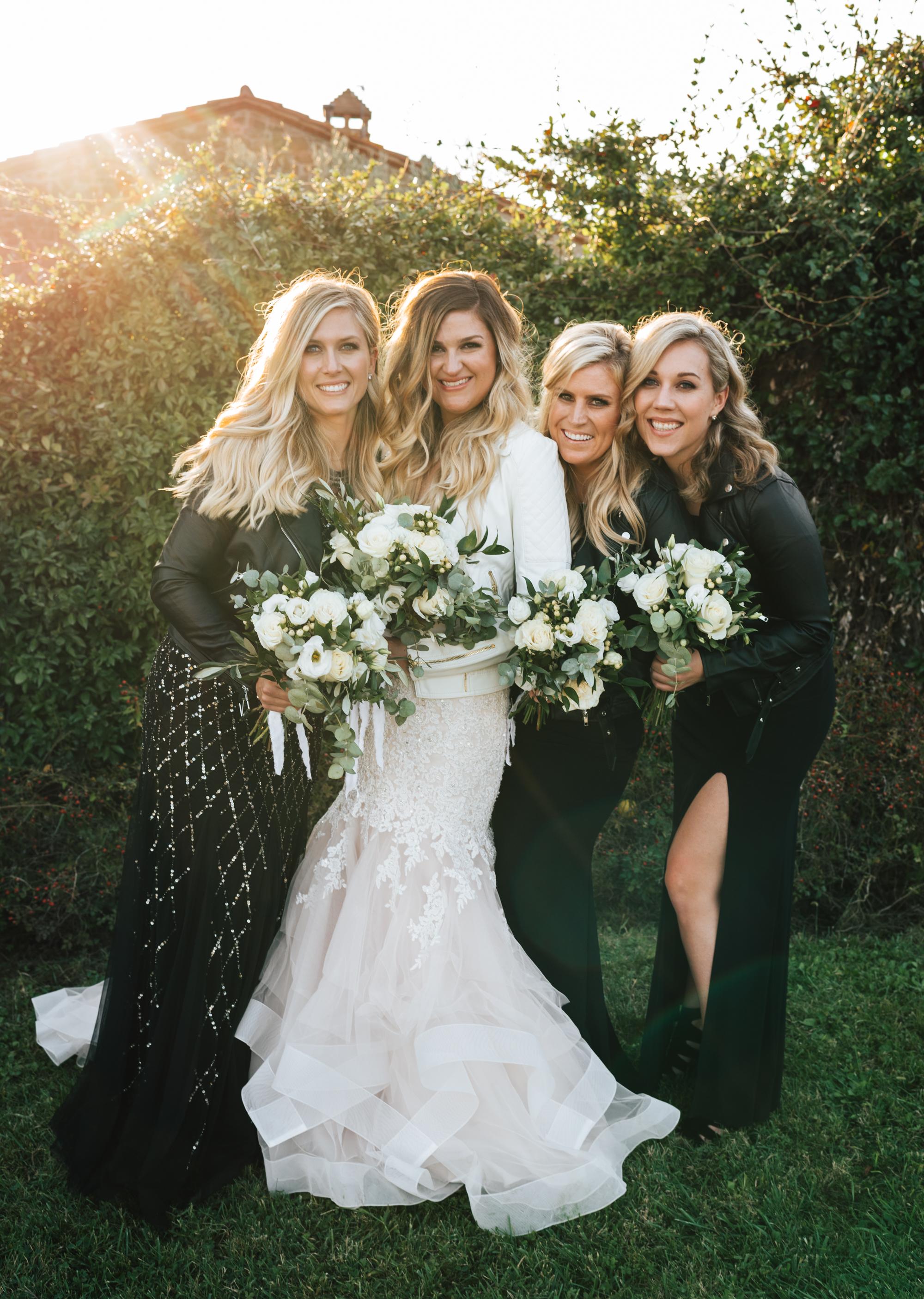 SamErica Studios - Cortona Italy Wedding -  Modern Destination Wedding photographers - leather bridesmaids jackets - leather wedding jacket