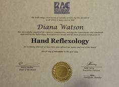 Certified in Hand Reflexology by RAC (2013)