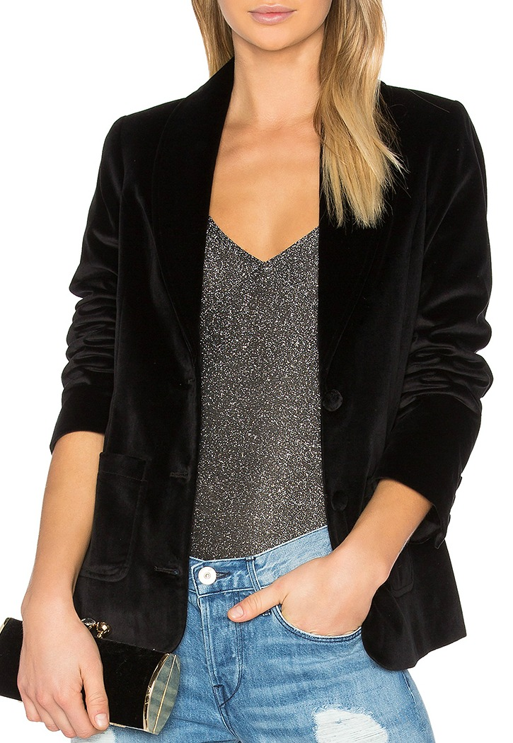 Anine Bing Black Velvet Blazer From Revolve Clothing