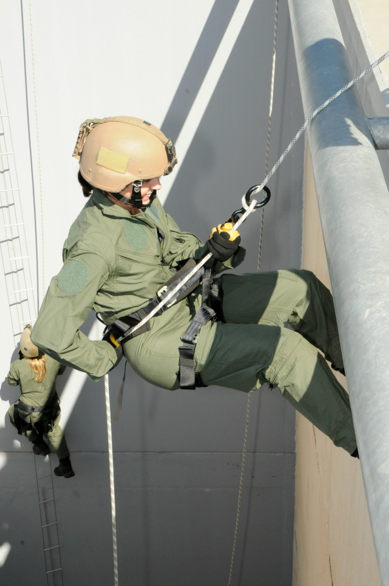Abseiling down a building.....