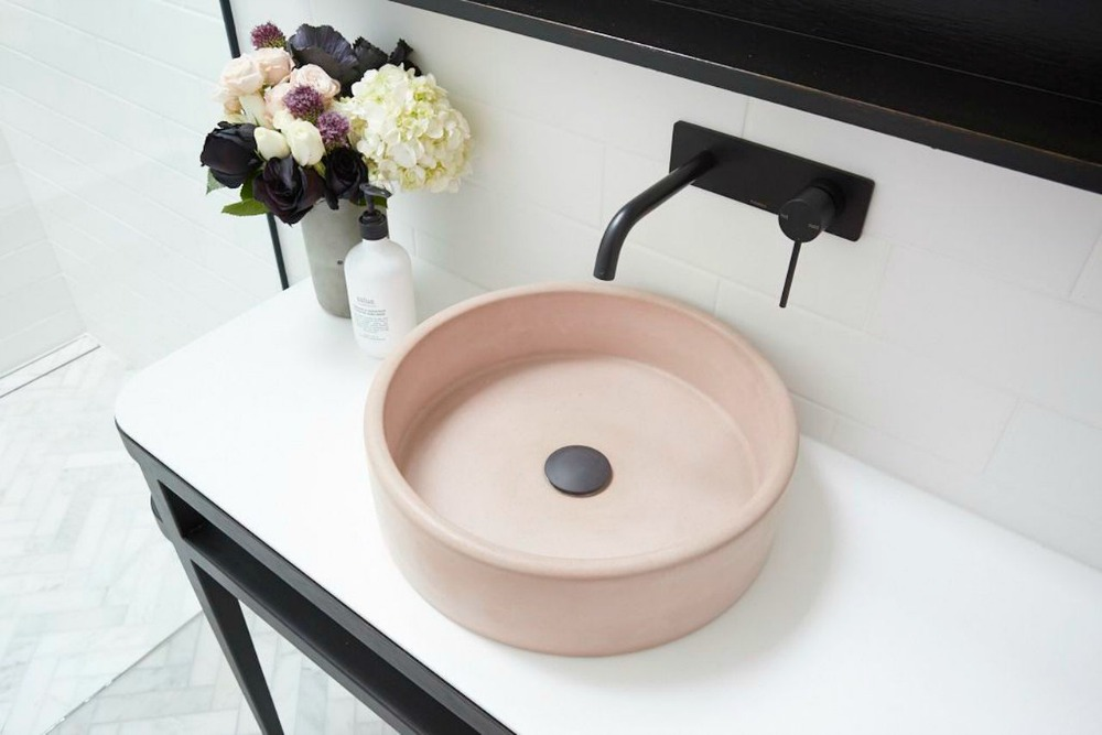 nood co  The Bowl Sink in Blush Pink.