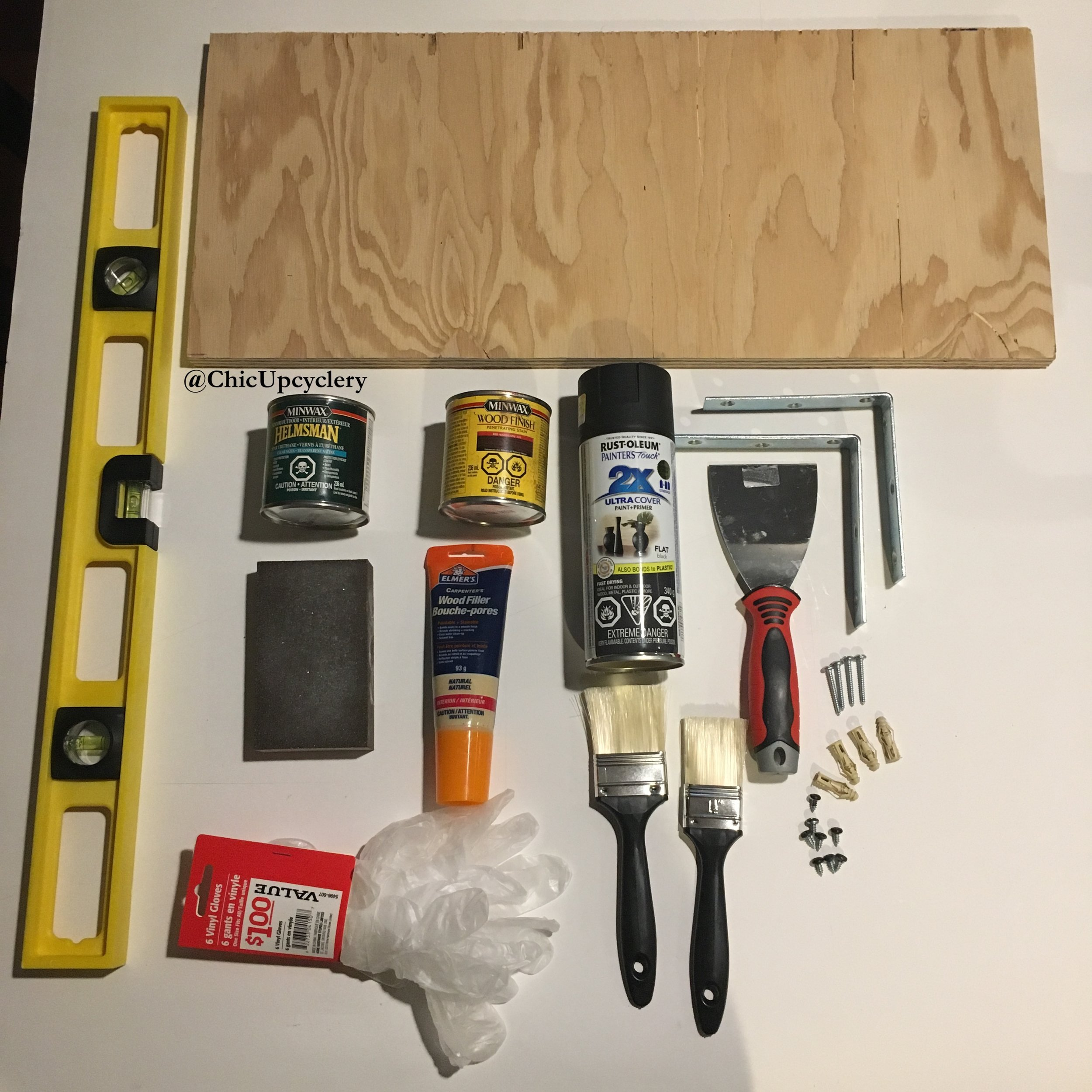Level, Shelf, Wood Stain, Polyurethane Wood Sealer, Spray Paint, Corner Brackets, Sanding Block, Wood Filler, Putty Knife, Gloves, Paint Brushes, Dry Wall Anchors, Screws