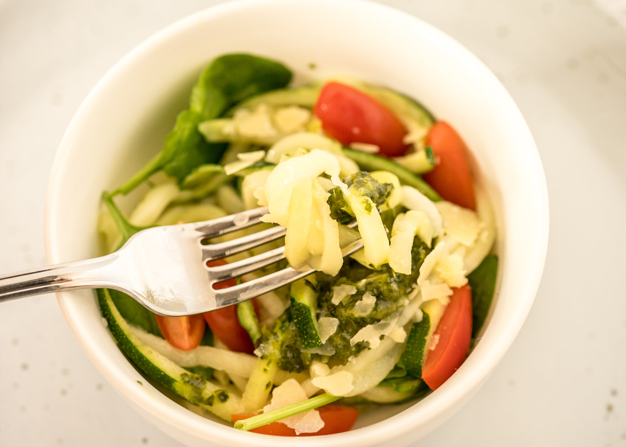 Basil Pesto with Zucchini Noodles