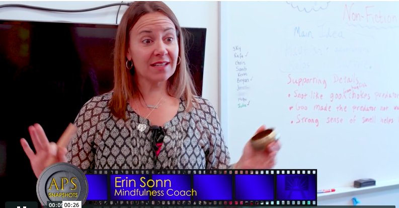 Watch this APS Snapshots video to learn about Erin's work to share mindfulness practice with students and teachers at Abingdon Elementary School.