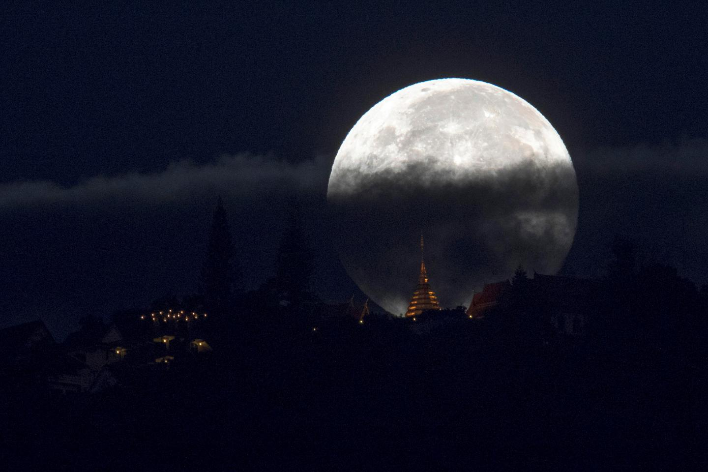 Supermoon as seen in Thailand