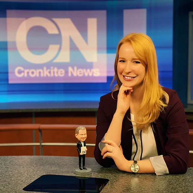 So honored to have won a Wally Award today at @cronkitenews ! Wally's are given to those who go #aboveandbeyond in the newsroom. I received mine because I'm creating 4 versions of my farm worker healthcare story - English and Spanish for state and national broadcasts. #anchorwoman #healthcare