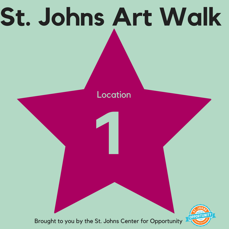 Look for these signs at the 20 participating locations on the St. Johns Art Walk!