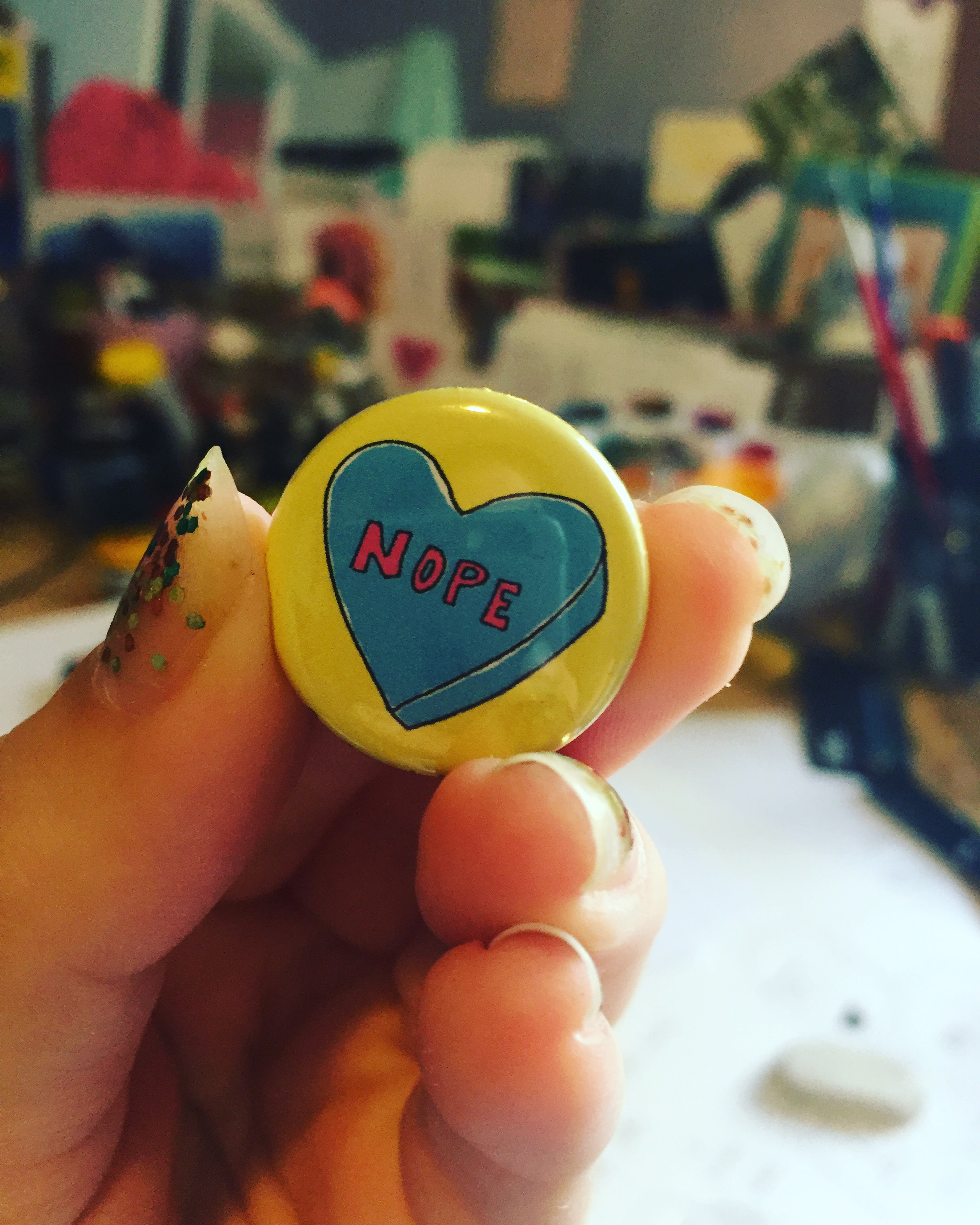 "Breaking Up Is Hard To Do, ""NOPE!"" button"