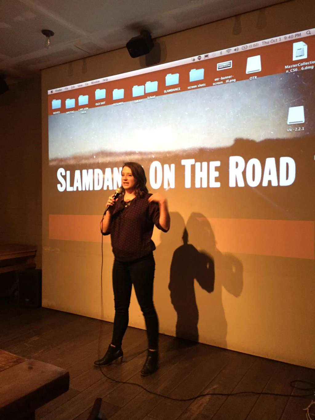Hilary hosting the 2015 Slamdance On The Road at Videology