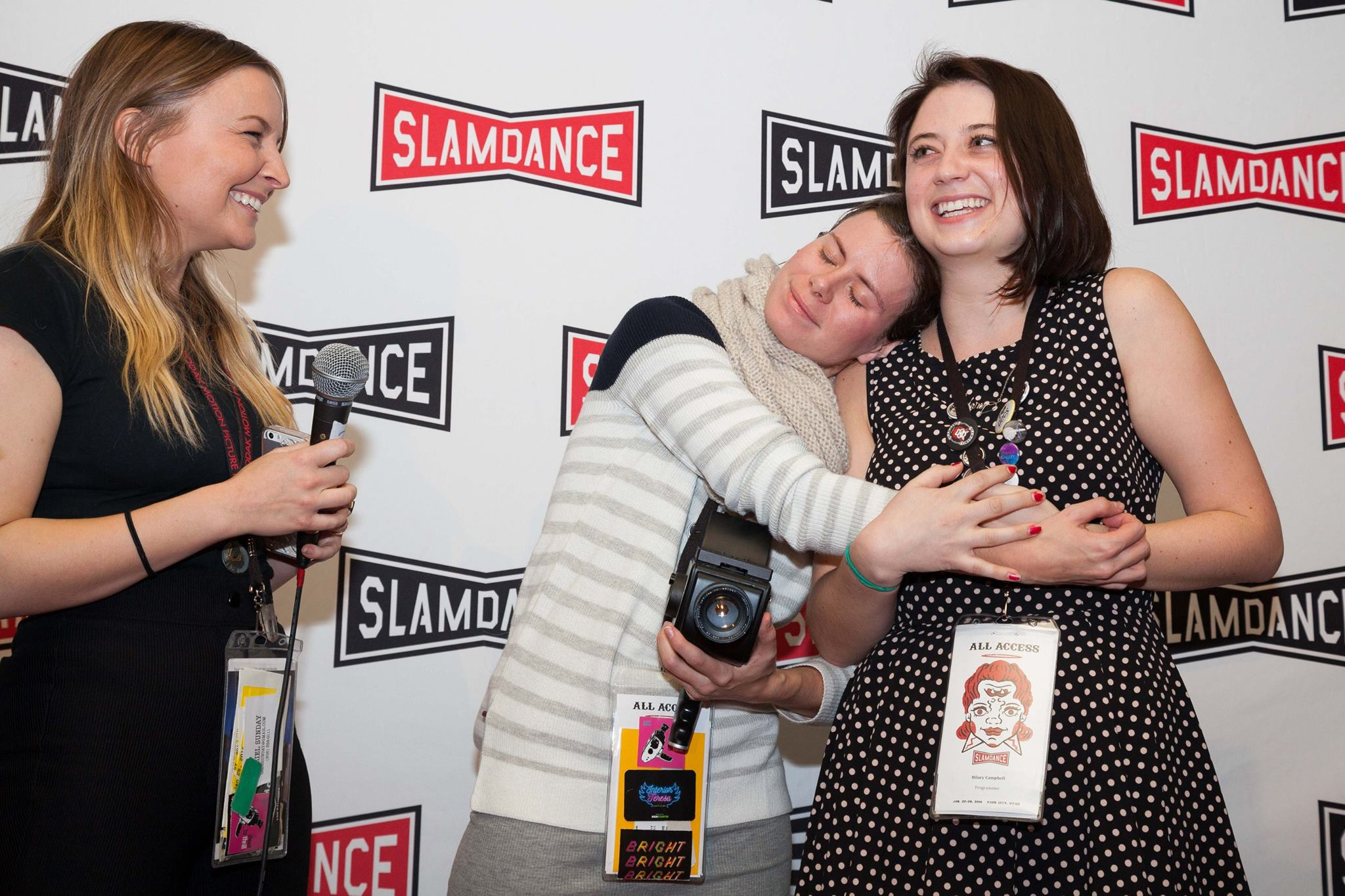 Filmmaker Lindsay Haun & Digital Bolex's Elle Schneider awarding Campbell Grand Prize at Slamdance