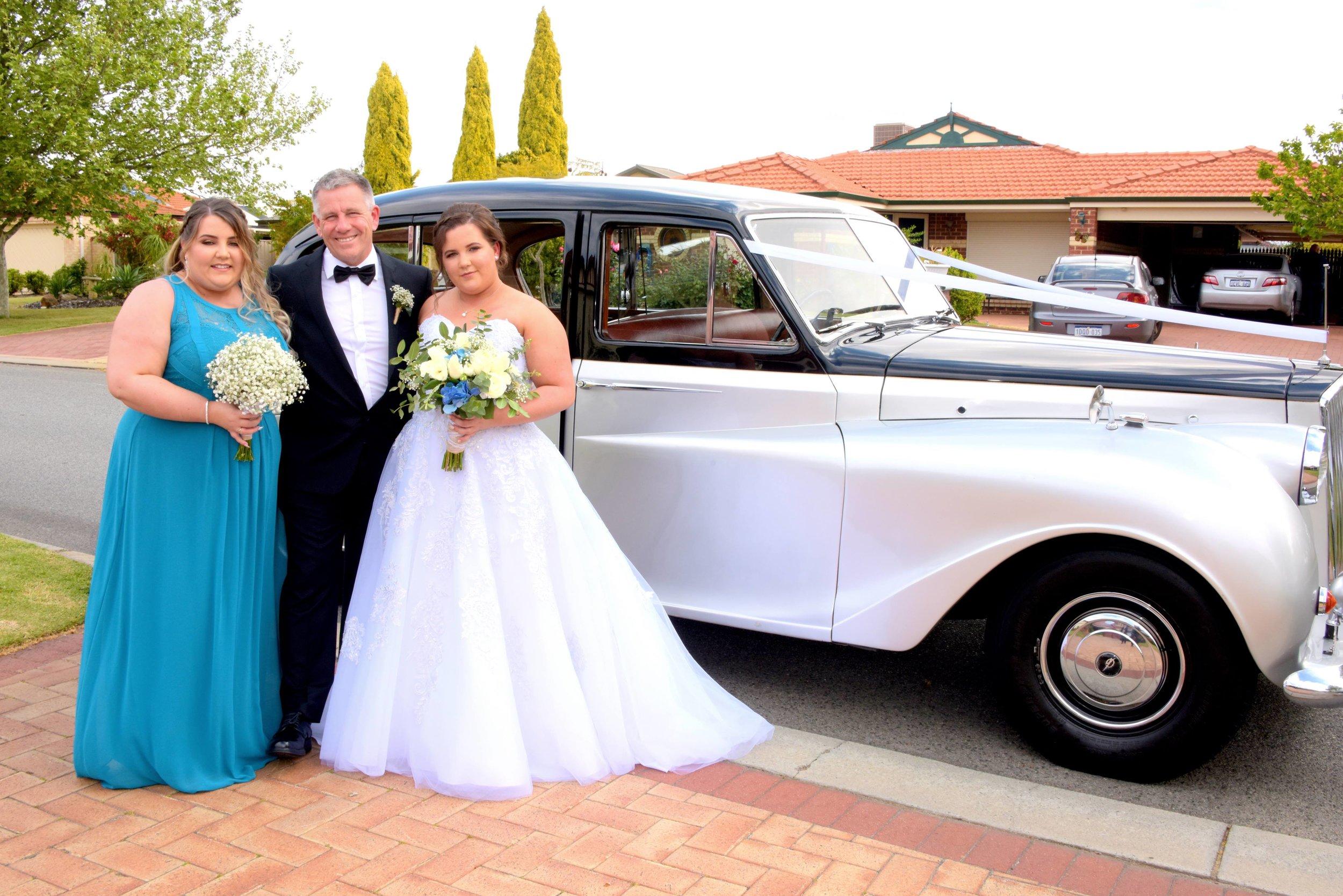 Amber & Aaron Baldivis Bride Bridesmaid and Dad at home.jpeg