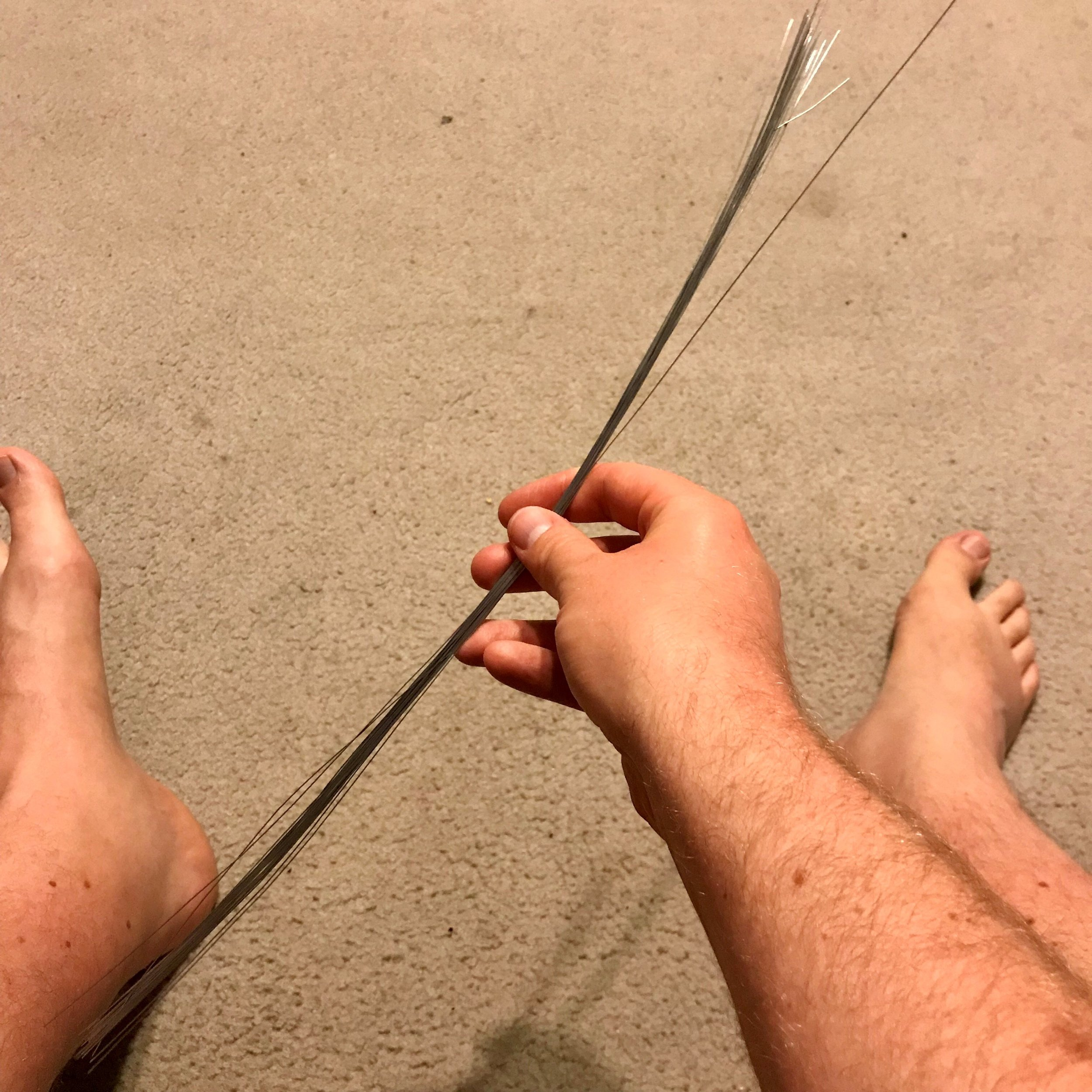 Step 1: Sorry for the feet pic. I use approximately 30 strands of florist wire. I buy them in packs from a $2 shop. Grab the bundle in the middle