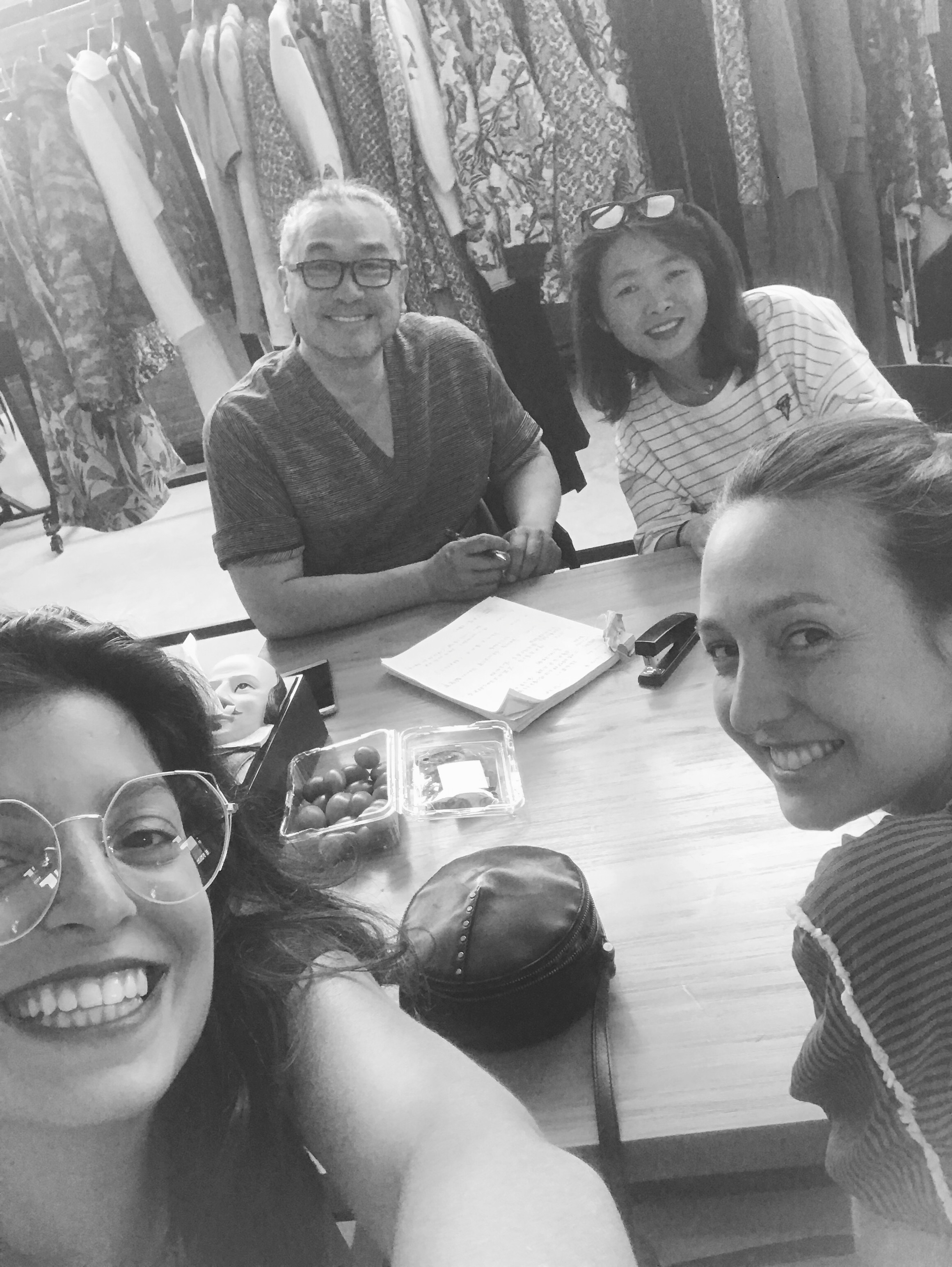 Meet the people who make your clothes : Paper pattern master HSU JEN SEN, Seamstress with golden hands WENDY, Maude & Hélène the designers.