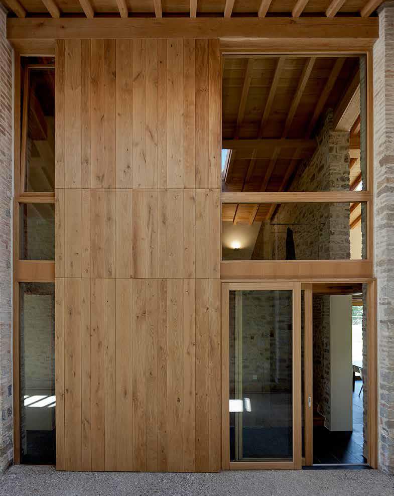 Oak door and wall