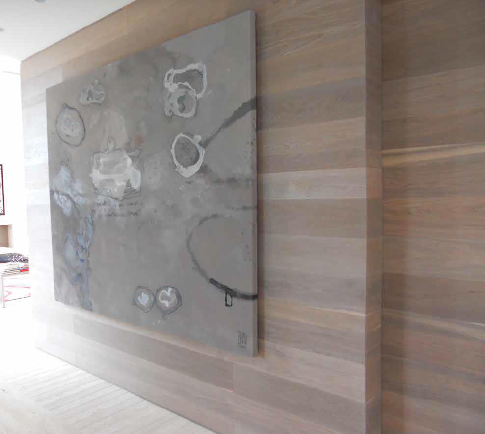 Oak sliding door and wall