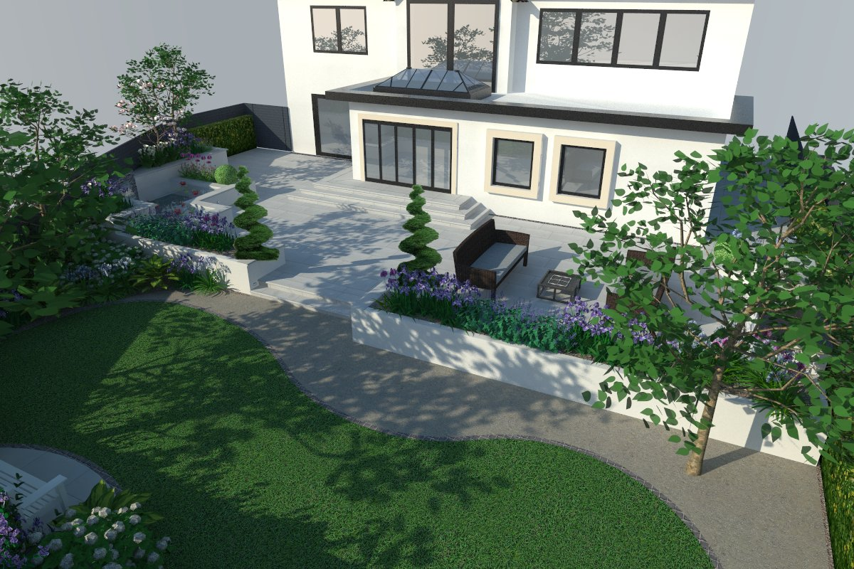 3d Visualisation of a contemporary garden