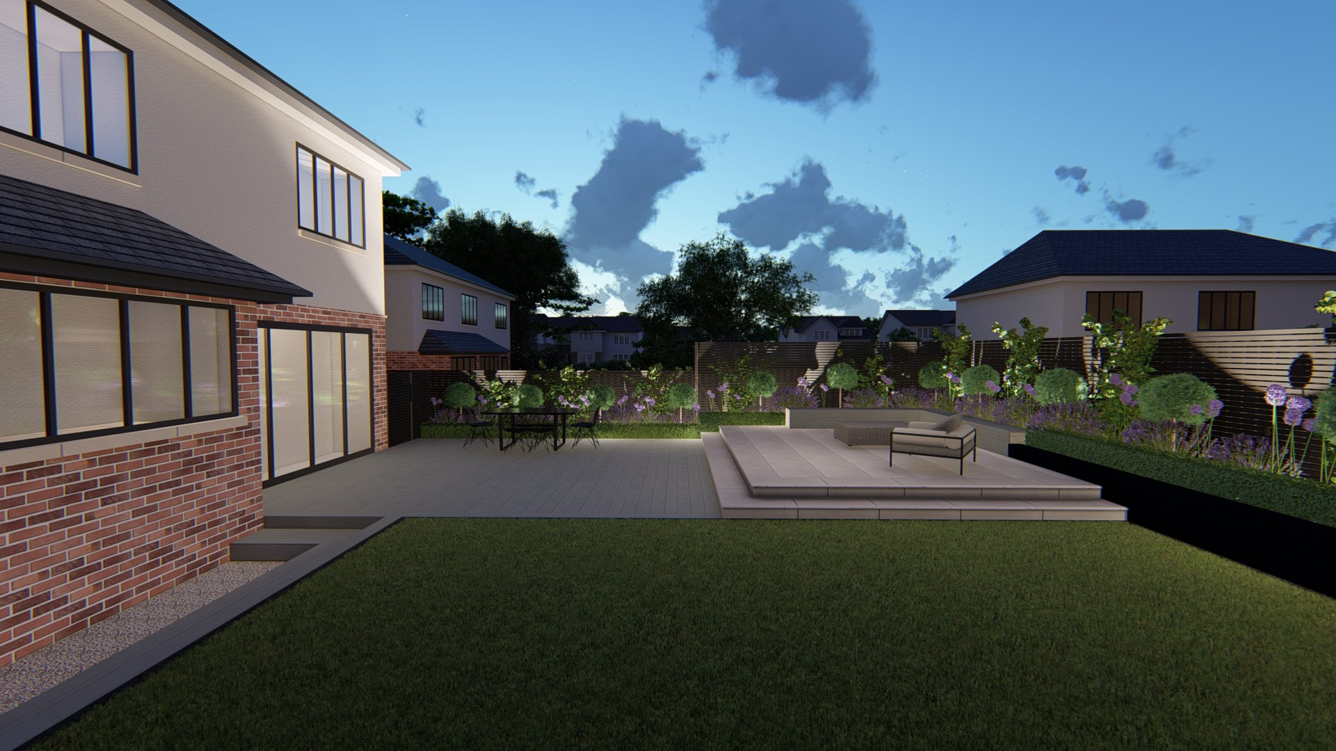3d Visualisation of  contemporary garden