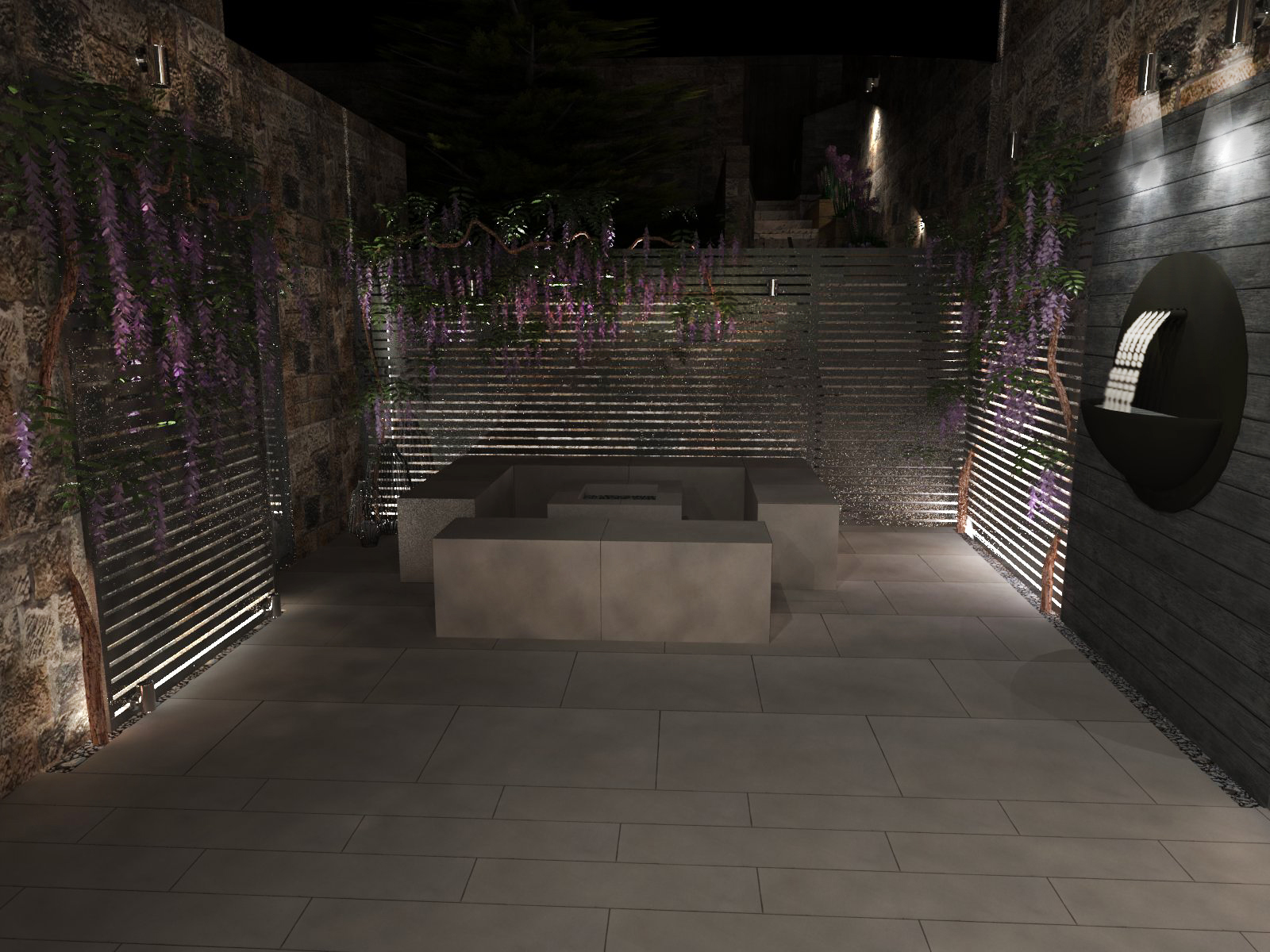 3d Visualisation of a small courtyard at night