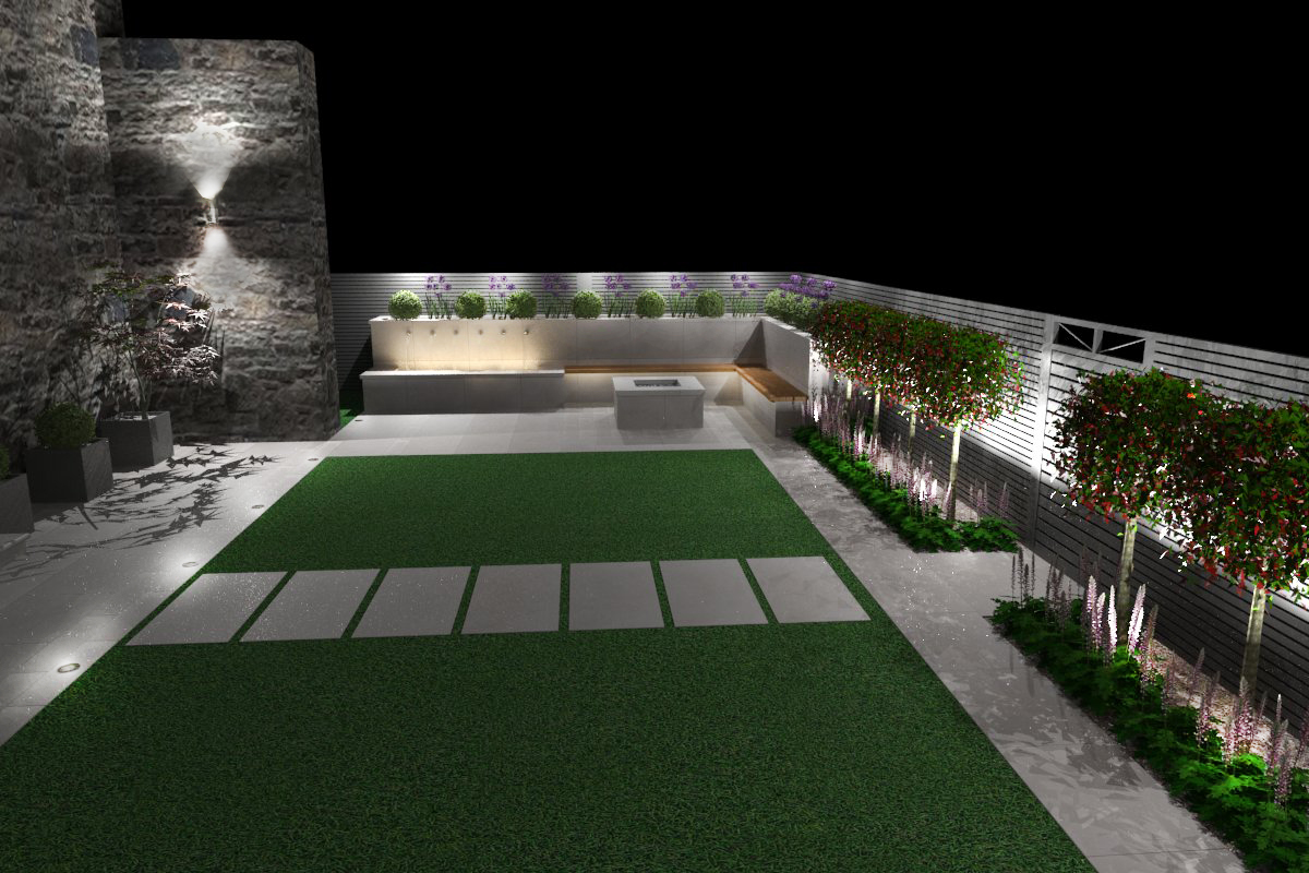 3d Visualisation showing garden lighting at night