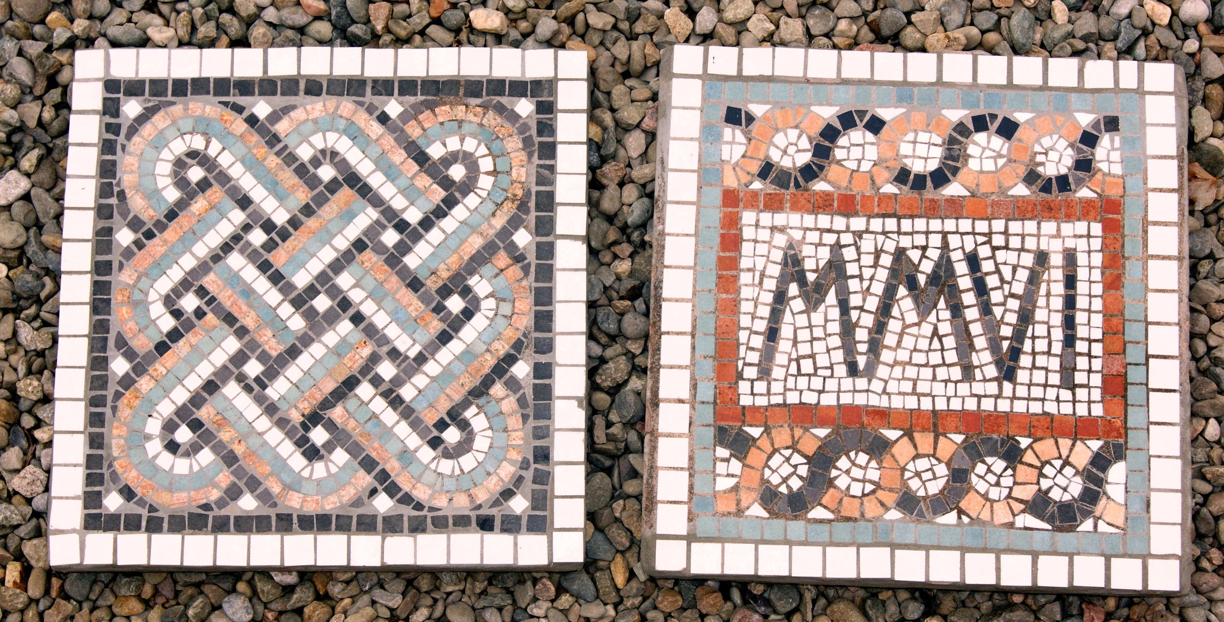 Garden slab mosaics. Design of Roman guilloche knots and Roman numerals. 20 ins. sq. Built in the indirect method, materials used are ceramic and marble, embedded into a cement base.