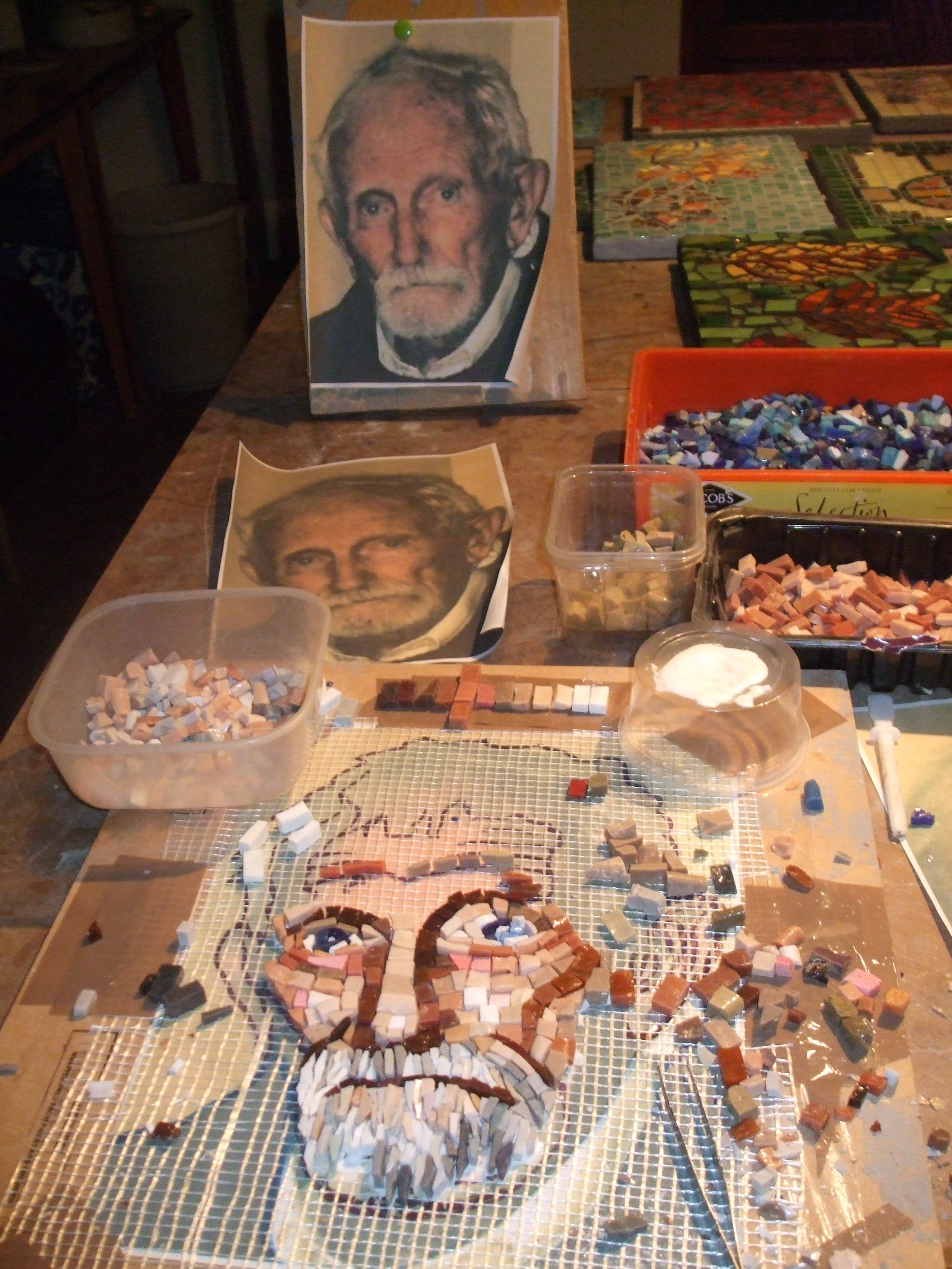 """Mosaic commission of """"Pip"""" to celebrate his 100th birthday. Italian smalti, ungrouted, set into lime plaster on board. Approx 15ins x 13ins."""