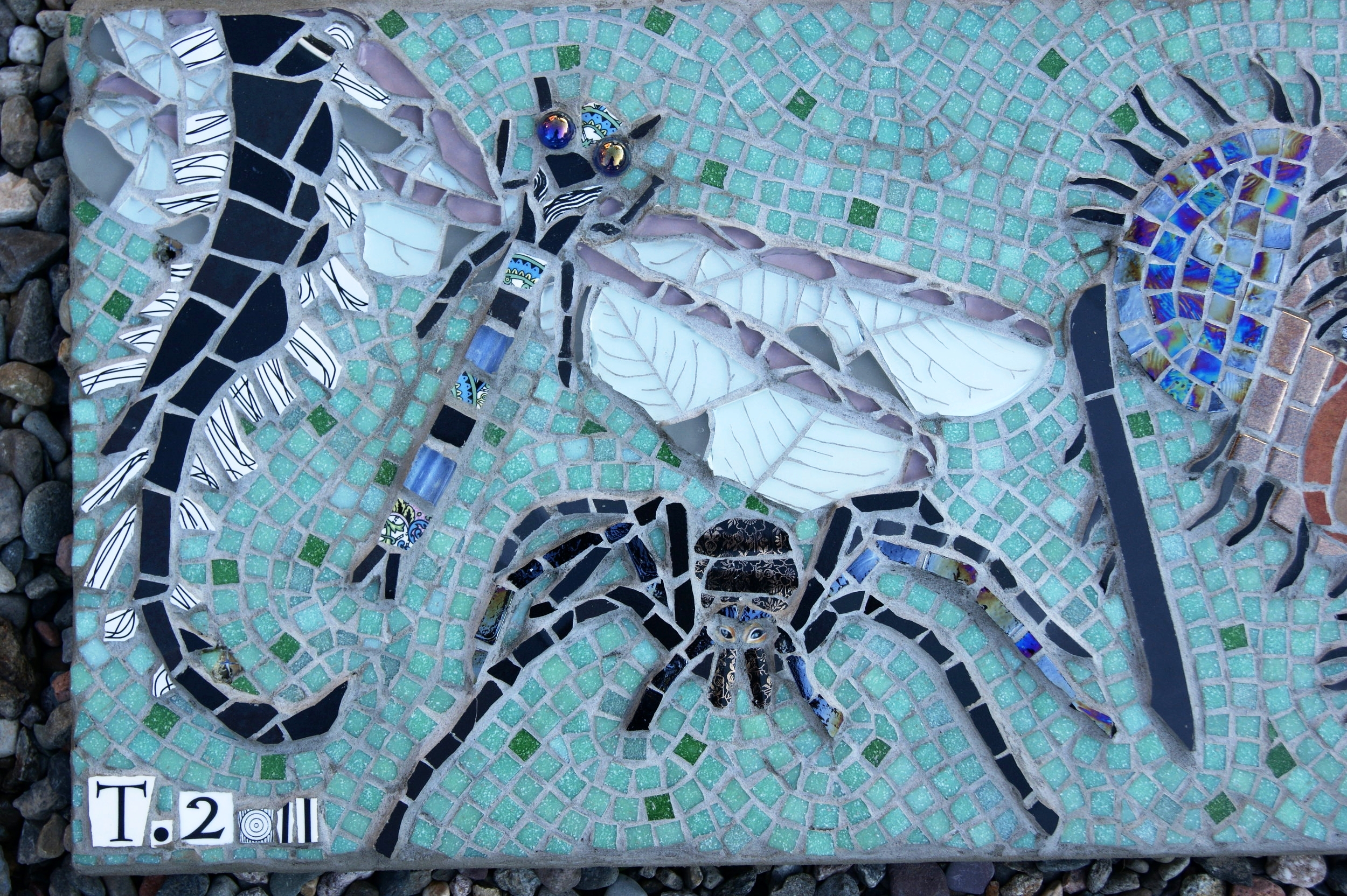 """Section of the """"Biodiversity"""" mosaic at Wyre Forest, Bewdley.  Insects.  Recycled ceramic tile and crockery, vitreous glass, glass beads."""