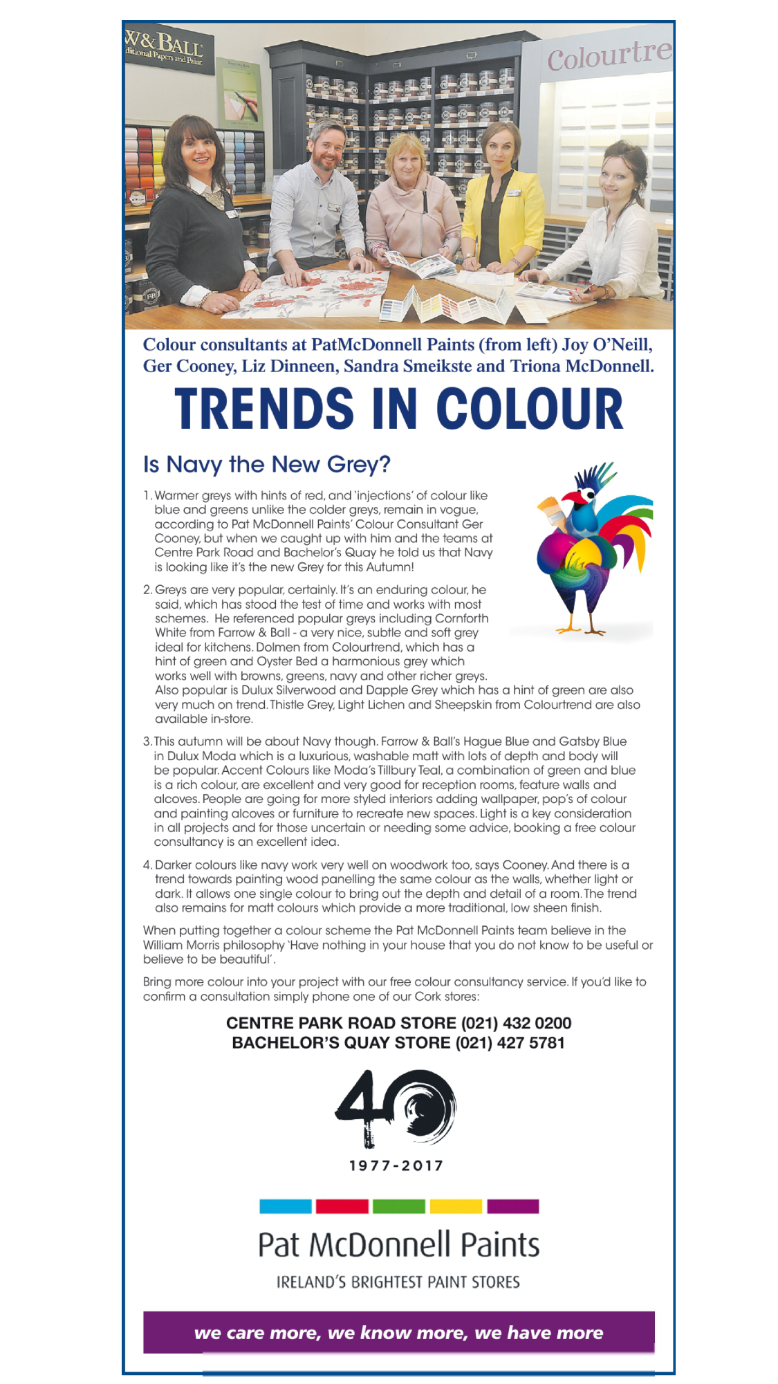 "Trend Forecasting Feature - Article published about forecasting trends in the design industry - ""Is Navy the new Grey?"" Published in the interiors supplement in The Irish Examiner, November 2017"