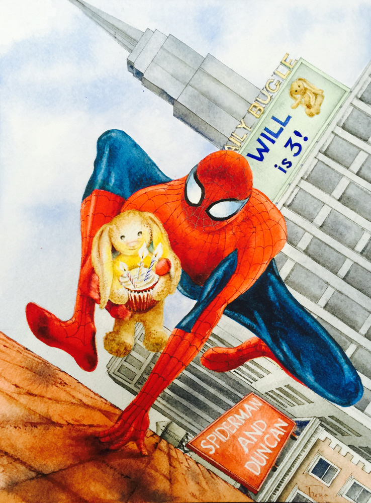 Spiderman & Rabbit commissioned for a 3rd birthday
