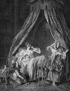 Le Lever French engraving by Louis Romanet (1742-1810)