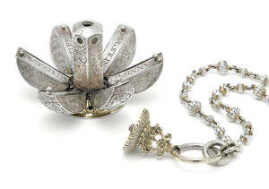 'and she shall have fragrance wherever she goes' Portable silver pomander, segmented to hold various herbs + resins