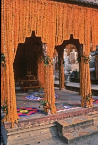 A temple, beautifully decorated with Genda curtains