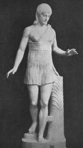 A female Spartan runner, wearing fashion du jour, almost 'amazonian warrior' look