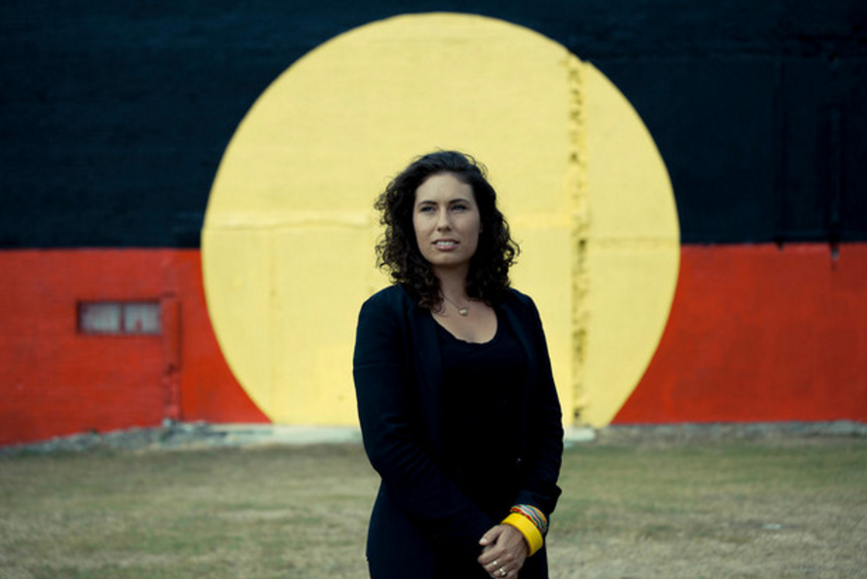 Nicole Monks stands in Sydney outside the area known as The Block, where Aboriginal people have lived for decades.Photo by Paul van Kan