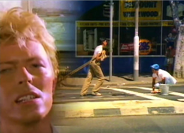 David Bowie in the Let's Dance video clip.