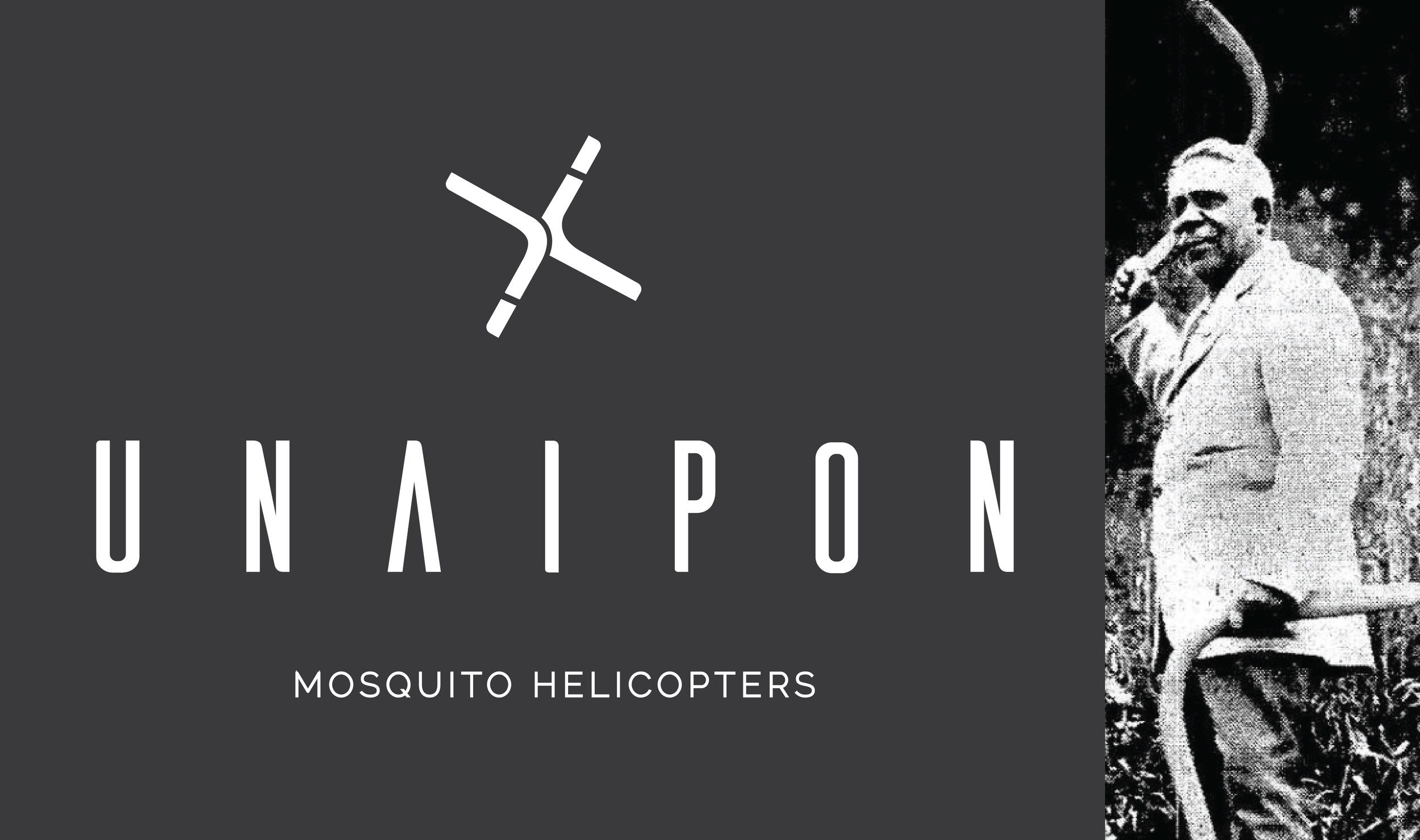 Unaipon Helicopter logo and David Unaipon holding two of his Boomerangs