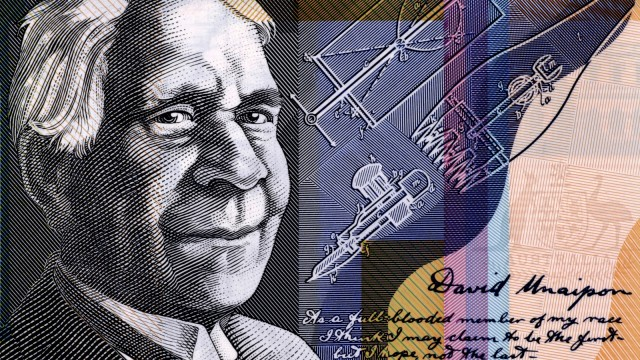 A section of Australian $50 note featuring David Unaipon and his sheep shearing designs.