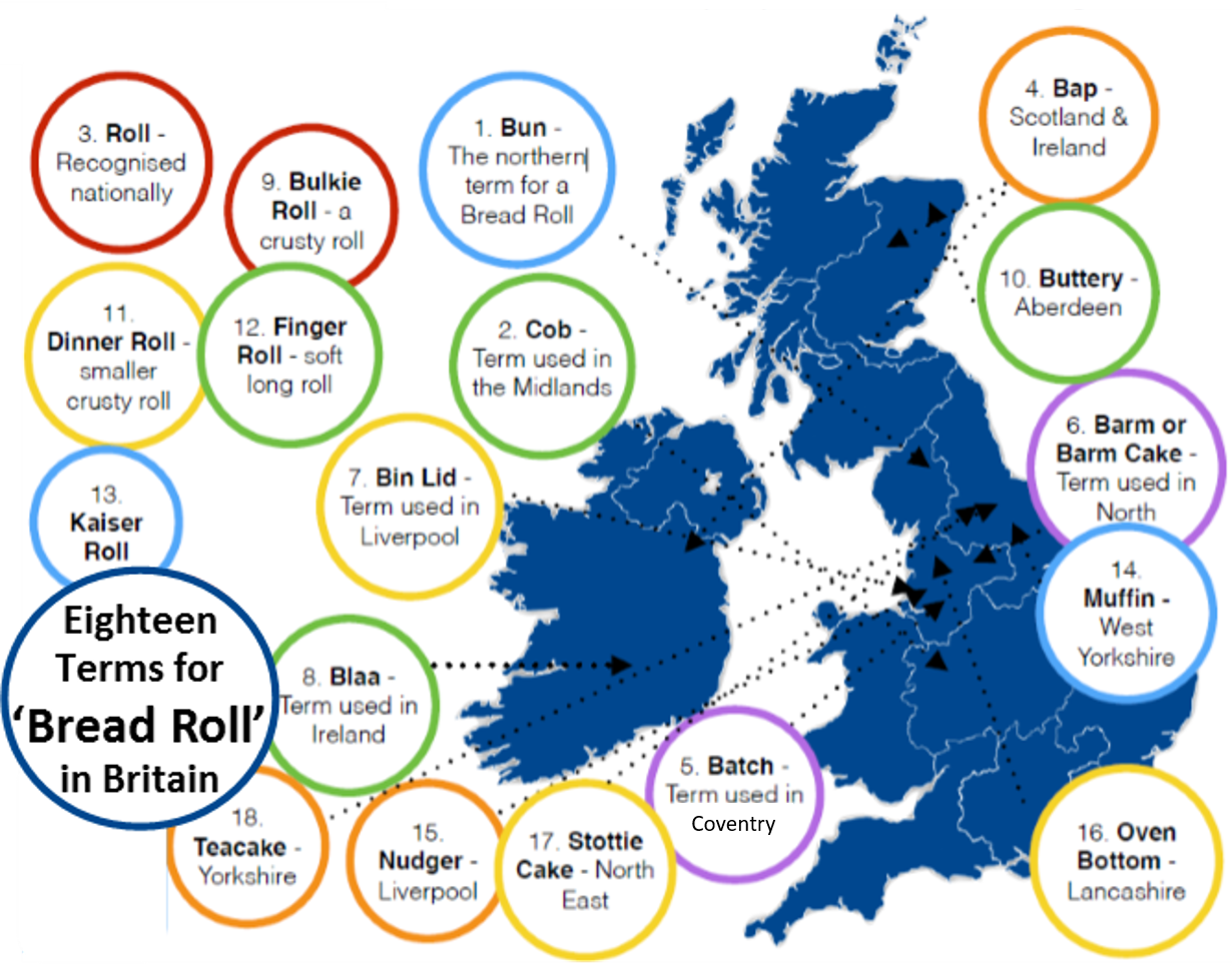 18 names for bread rolls through out Britain