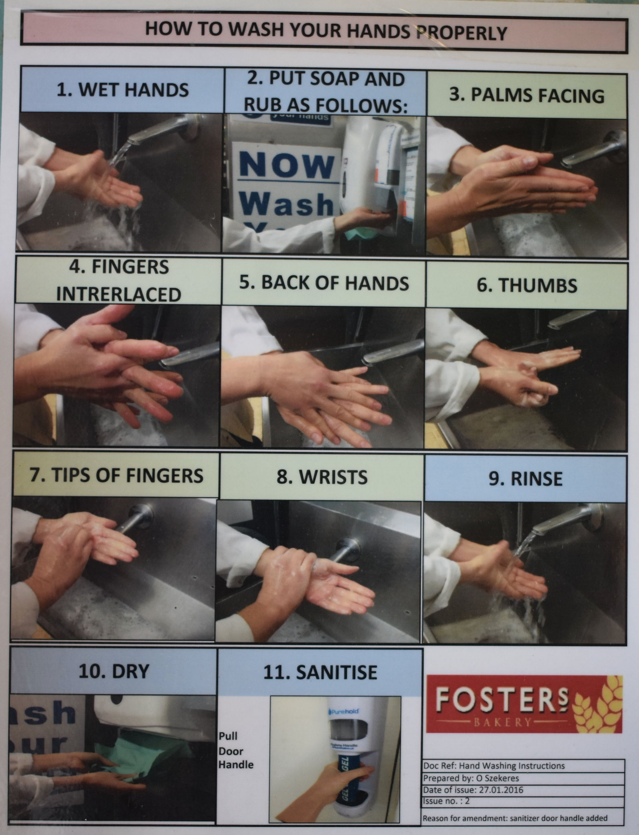 Fosters Bakery signs to show people how to wash their hands properly