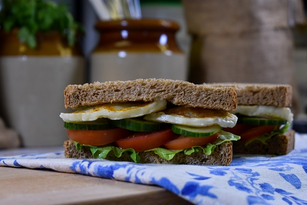 Wholemeal Bloomer with lettuce, tomato, cucumber and grilled halloumi