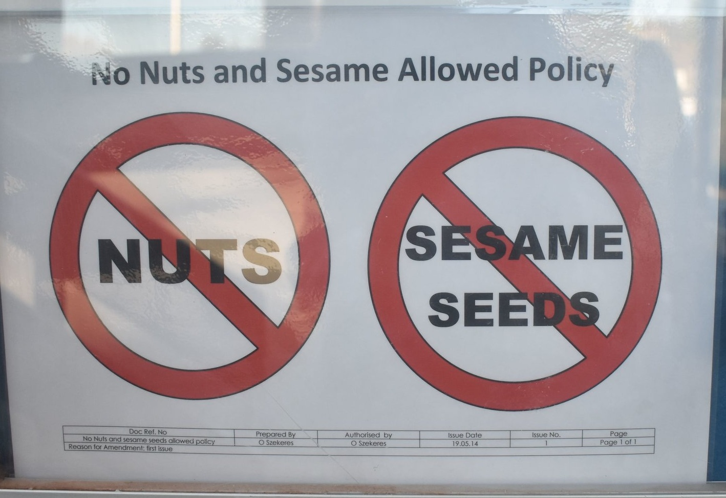 Our no nut and sesame posters in the reception of Fosters Bakery