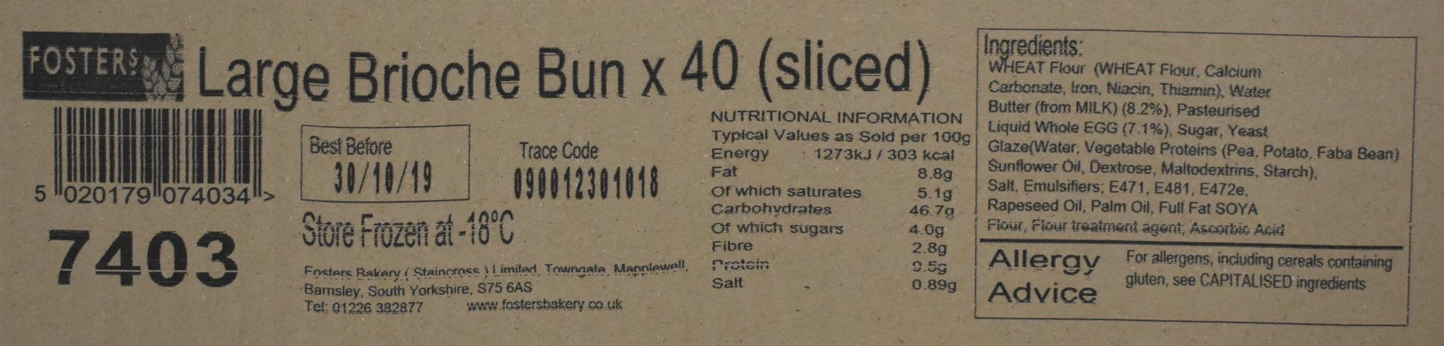 An example of Fosters Bakery labelling