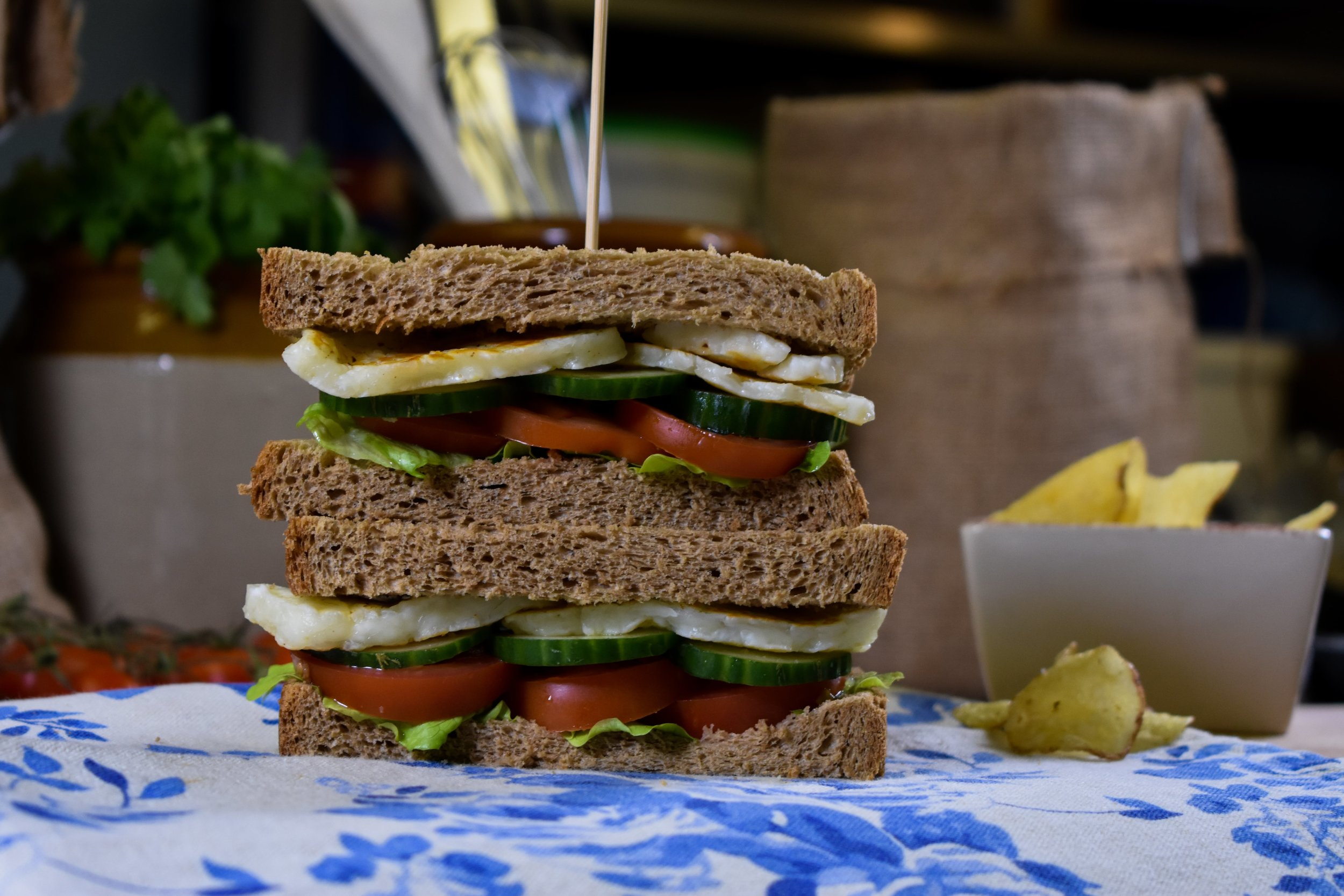 Our wholemeal bloomer with a delicious filling of lettuce, tomato, cucumber and halloumi.