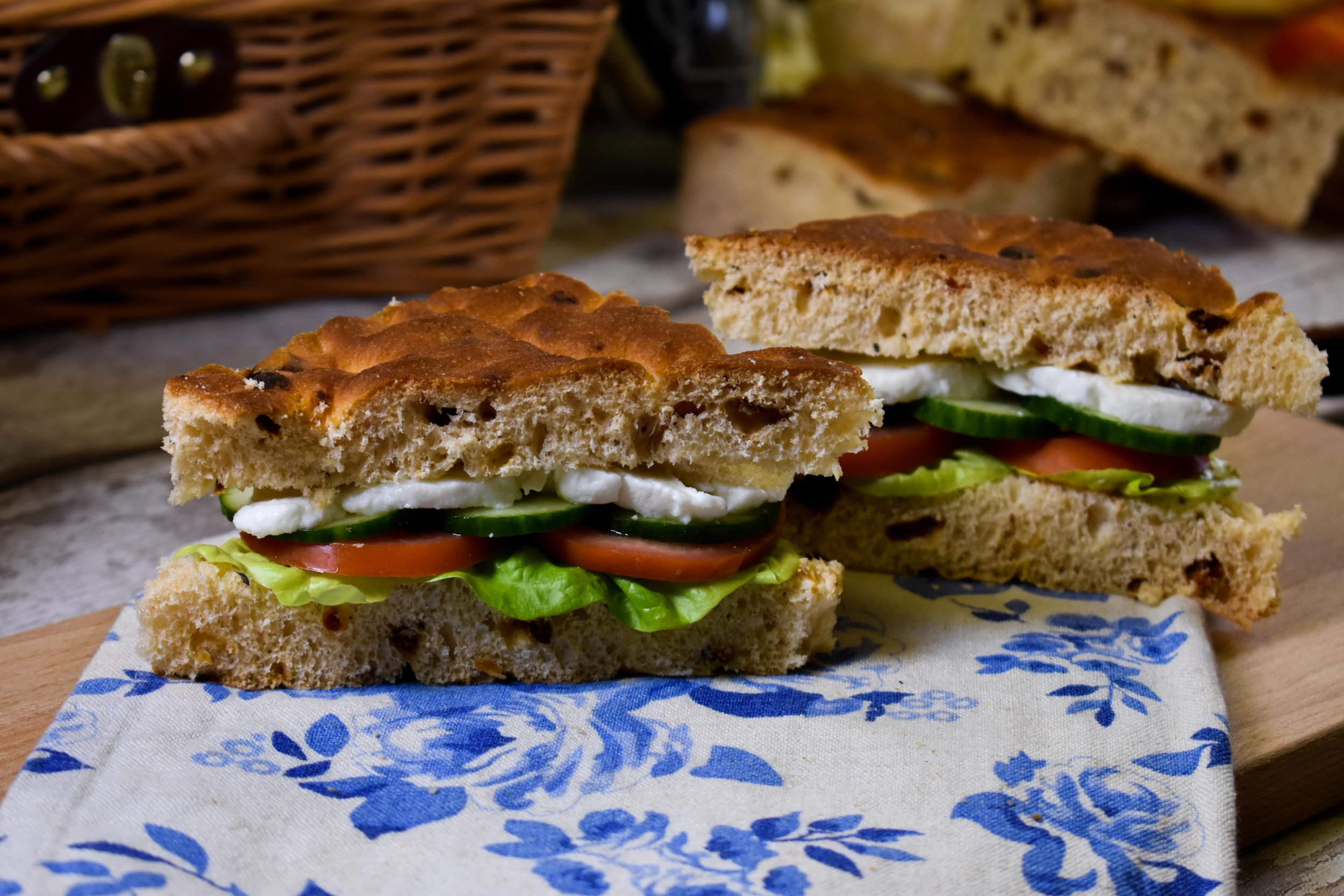 Sun-dried Tomato Focaccia filled with lettuce, cucumber, tomato and mozzarella