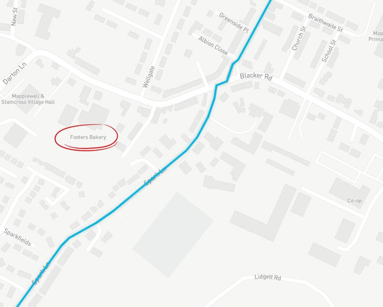 Fosters Bakery's location in comparison to the men's stage 2 race! (Taken from  Tour de Yorkshire's website ).