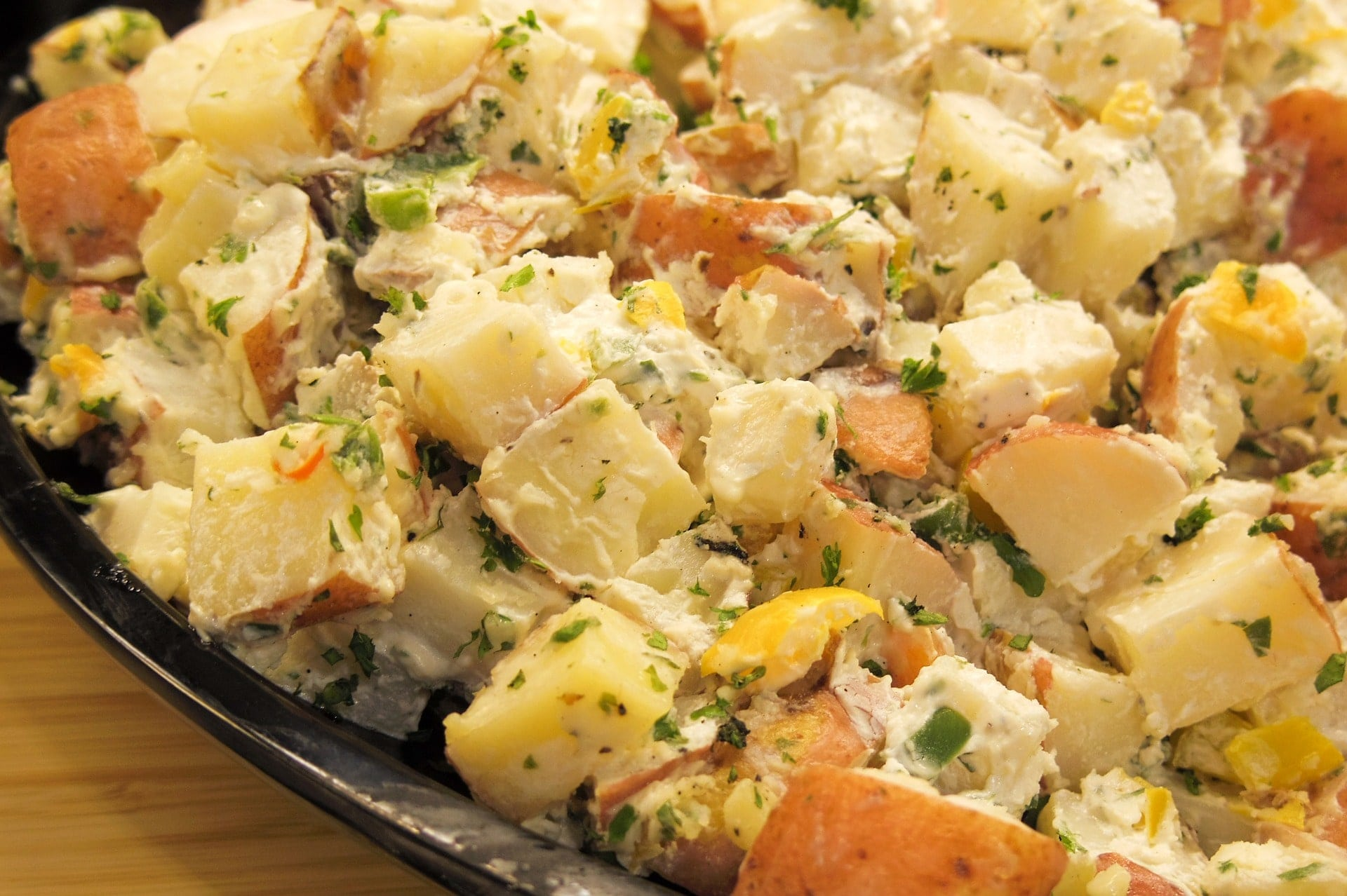 potato salad - Who doesn't love a delicious, creamy potato salad?If you're a big fan of the creamy, mayo packed potato salad then Cooking Classy's classic potato salad is the recipe for you.Barefeet in the Kitchen's Italian Potato Salad is a mayo-free zone, so for those of you begging for a lighter but extremely tasty recipe then look no further. This uses salami and zesty flavours, perfect for summer.*Image shown is not from the recipes provided.