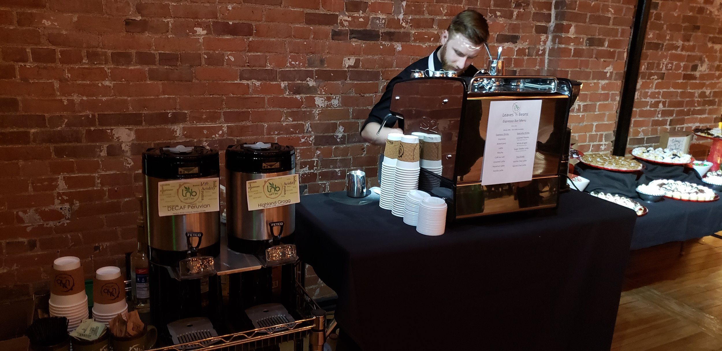 Leaves 'n Beans Espresso Bar $400 - Unlimited Brewed Coffee for 3 hours with a full-time on site barista. Espresso machine for café style drinks made for each guest. Drinks served both hot and iced to please all tastes.