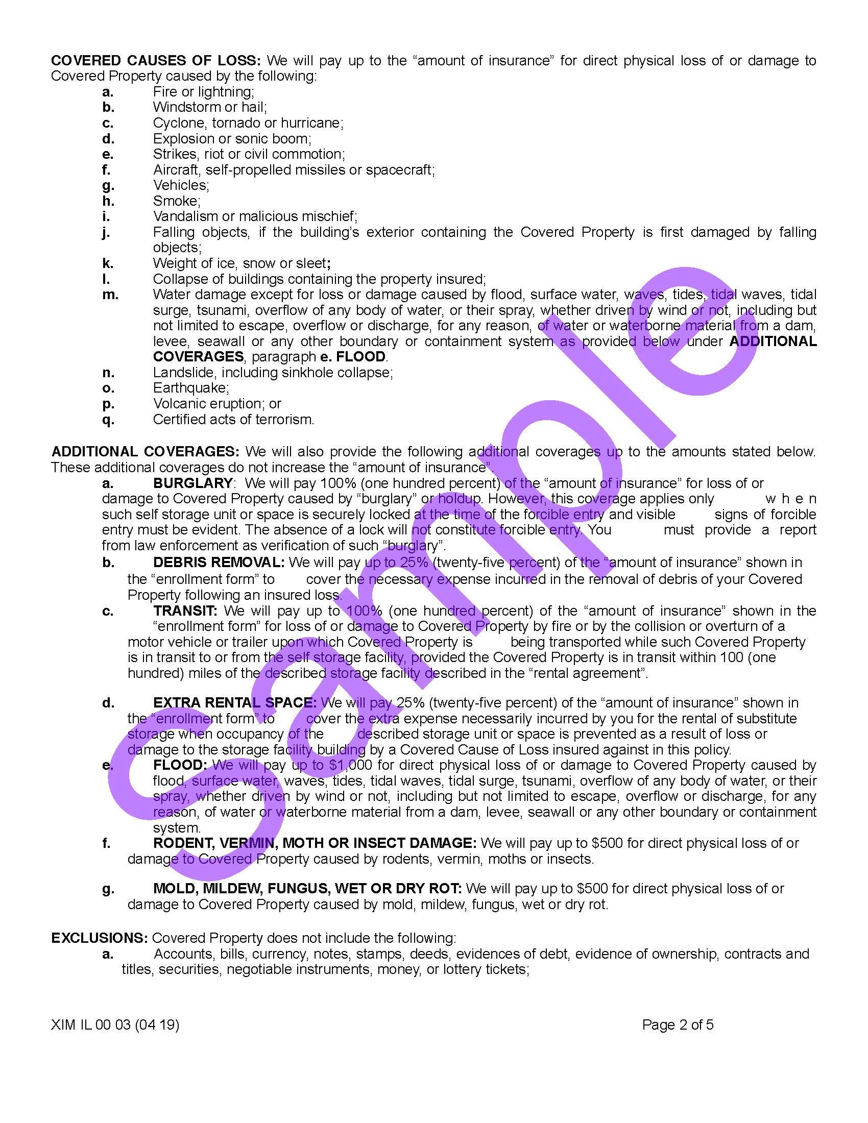 Illinois — Coverage Certificates of Insurance — Xercor