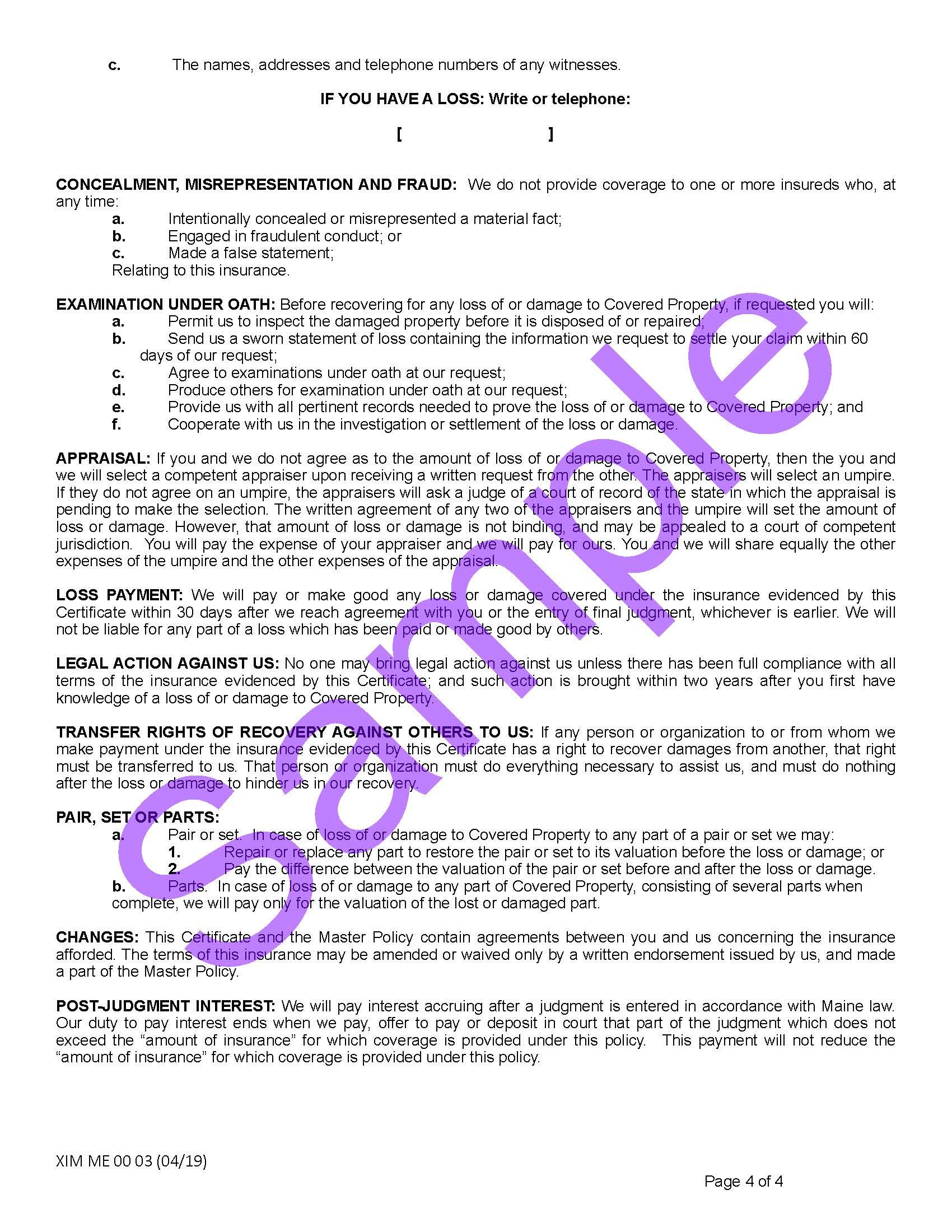 Maine — Coverage Certificates of Insurance — Xercor