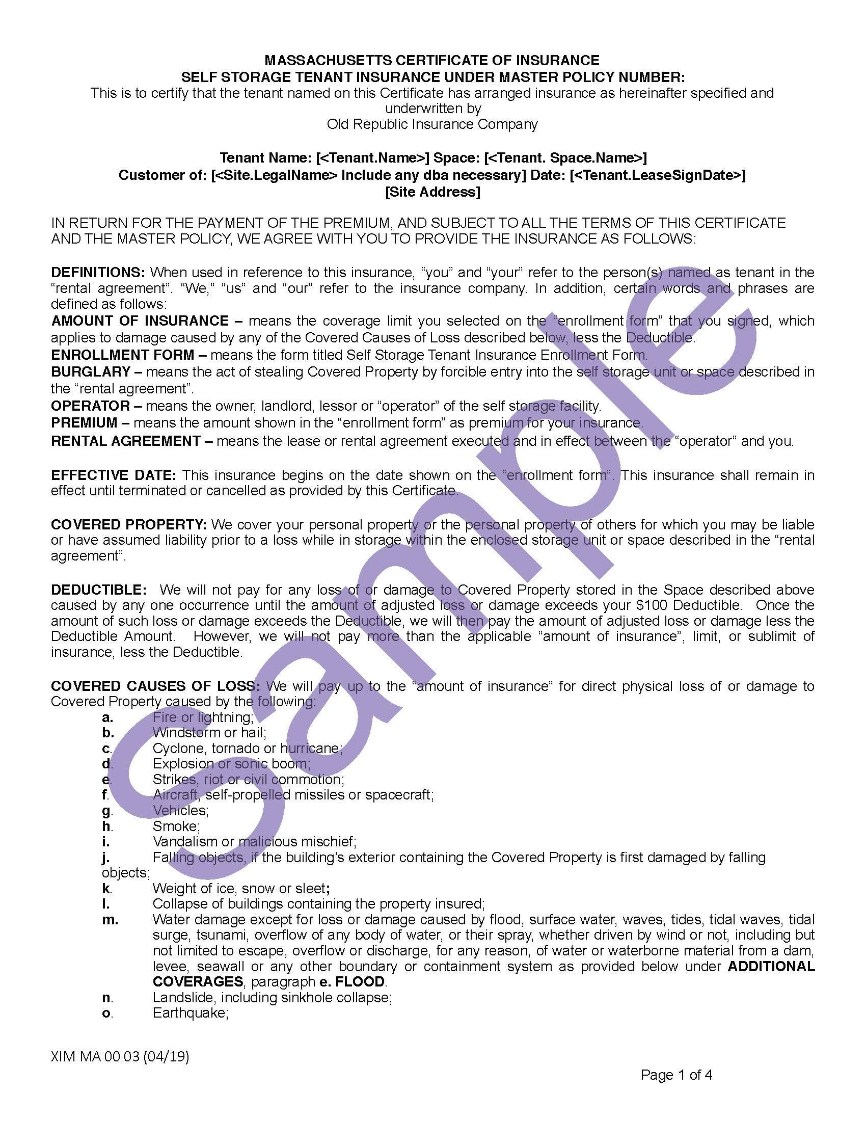 XIM MA 00 03 04 19 Massachusetts Certificate of Storage InsuranceSample_Page_1.jpg