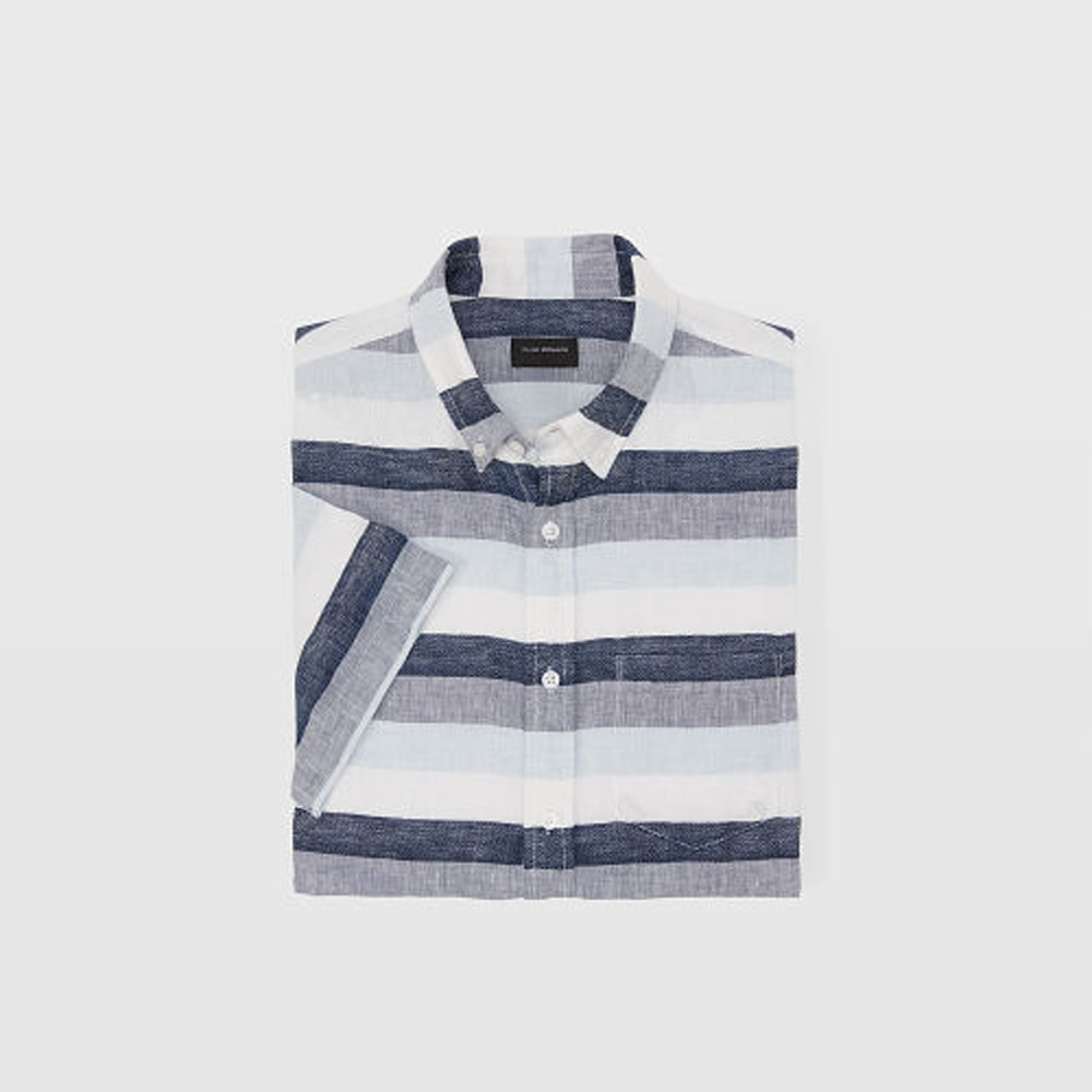 Slim Short-Sleeve Linen Stripe   HK$990